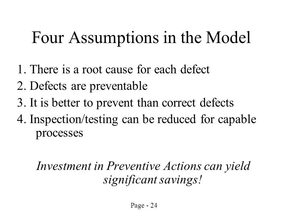 Four Assumptions in the Model