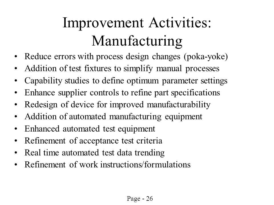 Improvement Activities: Manufacturing