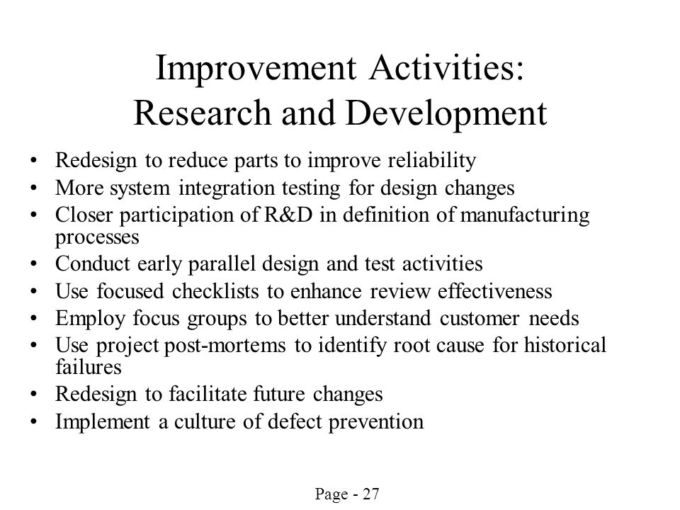 Improvement Activities: Research and Development
