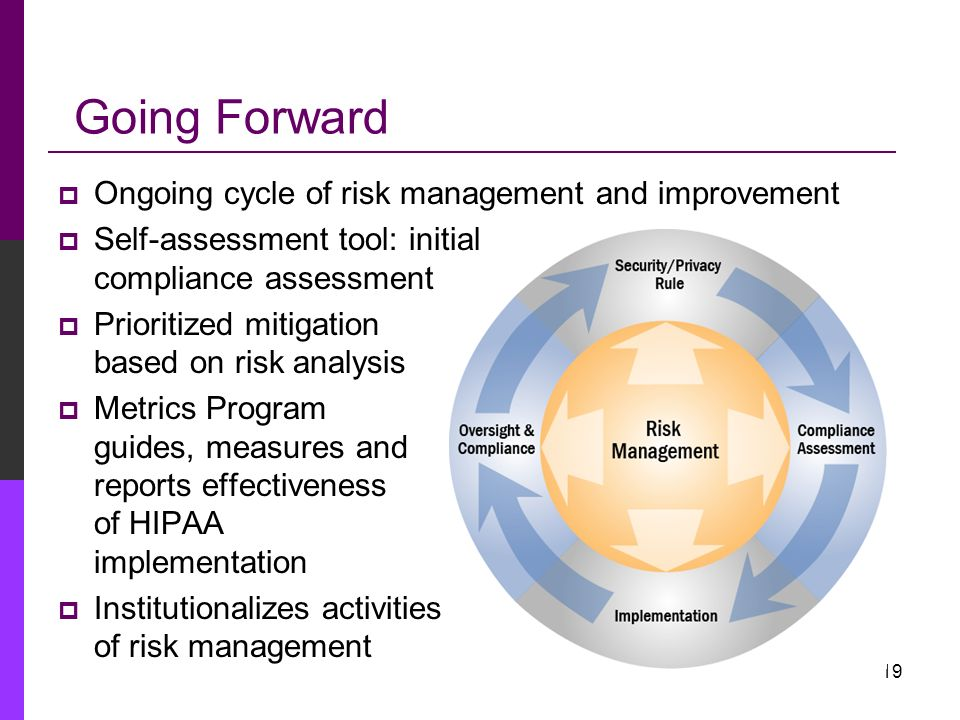 Going Forward Ongoing cycle of risk management and improvement