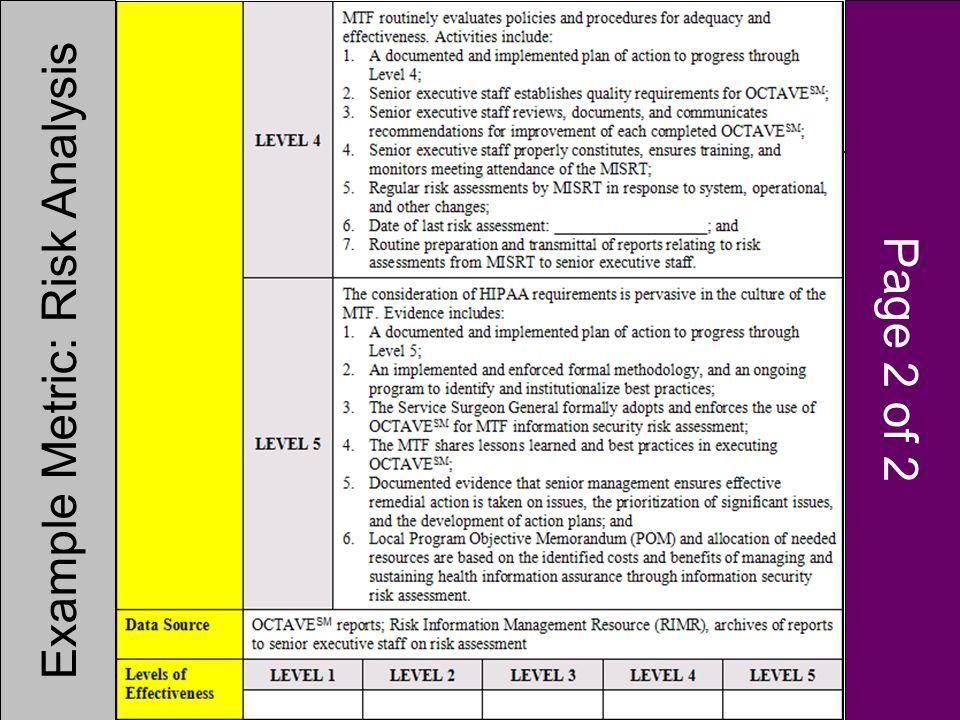 Example Metric: Risk Analysis