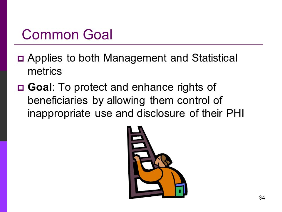 Common Goal Applies to both Management and Statistical metrics