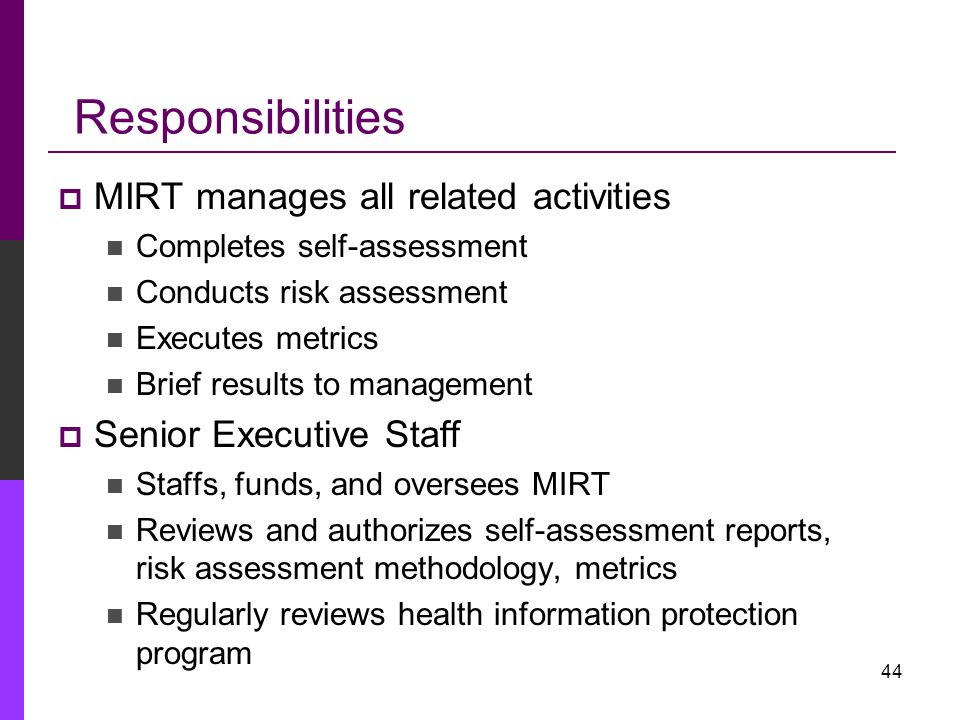 Responsibilities MIRT manages all related activities