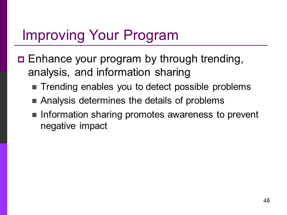 Improving Your Program