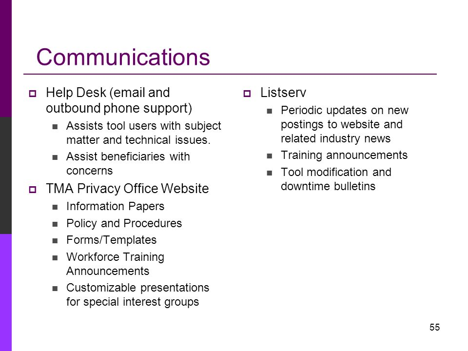 Communications Help Desk (email and outbound phone support)