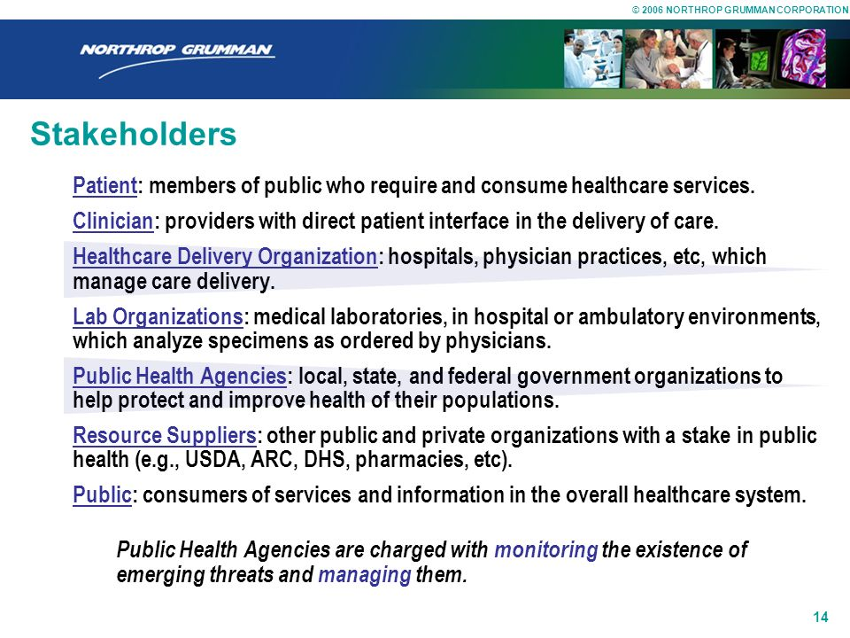 Stakeholders Patient: members of public who require and consume healthcare services.