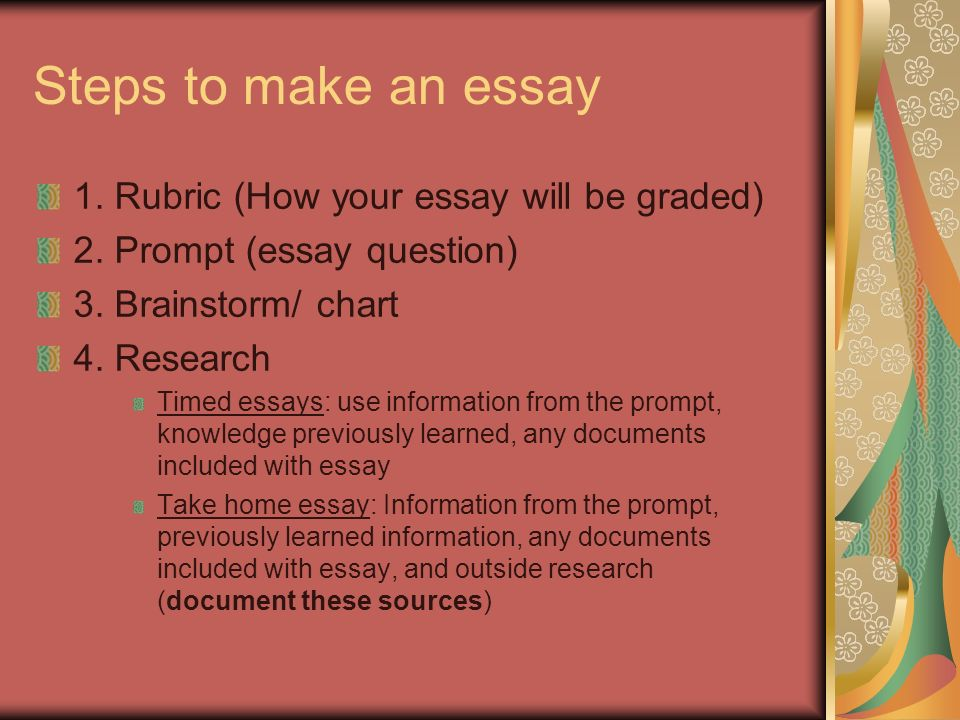 essay question rubric Essay rubric directions: your essay will be graded based on this rubric consequently, use this rubric as a guide when writing your essay and check it again before.