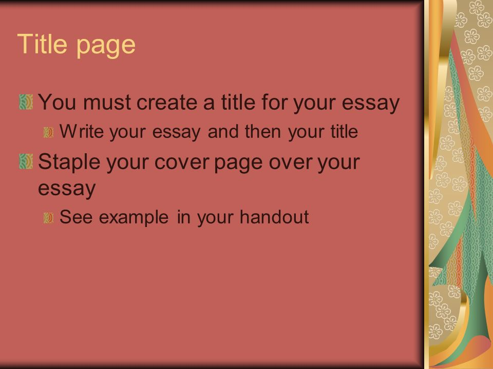 Good cover page for essay