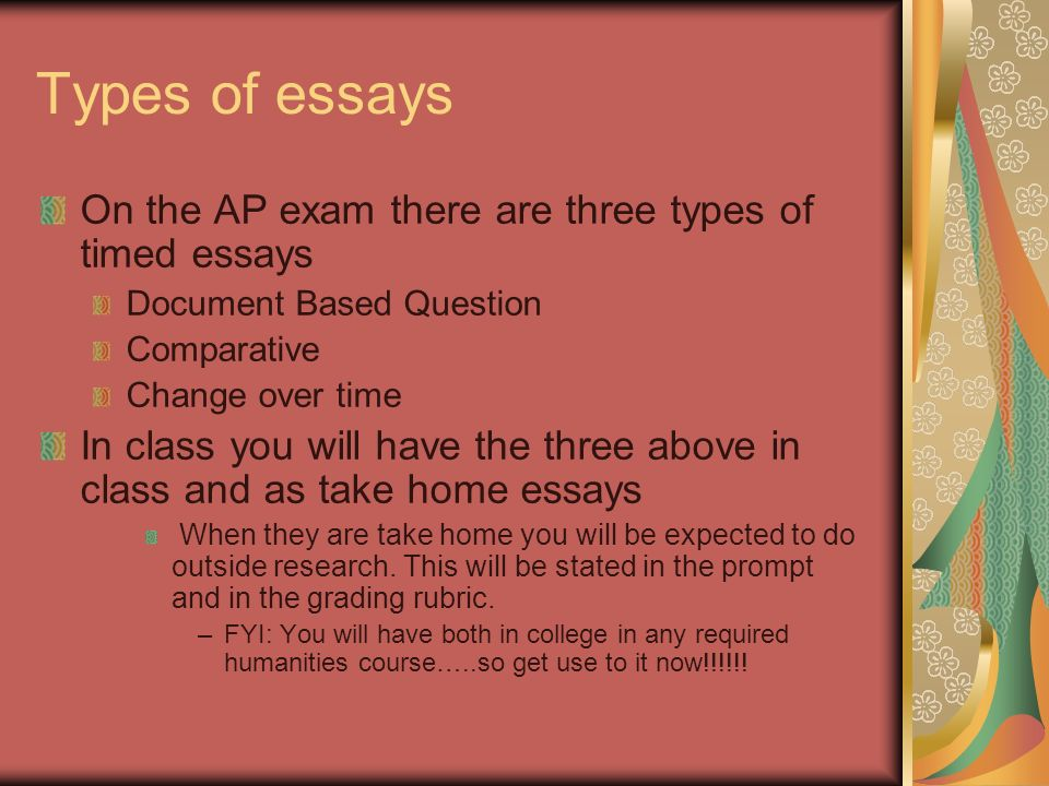 3 types of ap lit essays Diction can be defined as style of speaking or writing determined by the choice of words by a speaker or a writer search for: literary devices  types of diction.