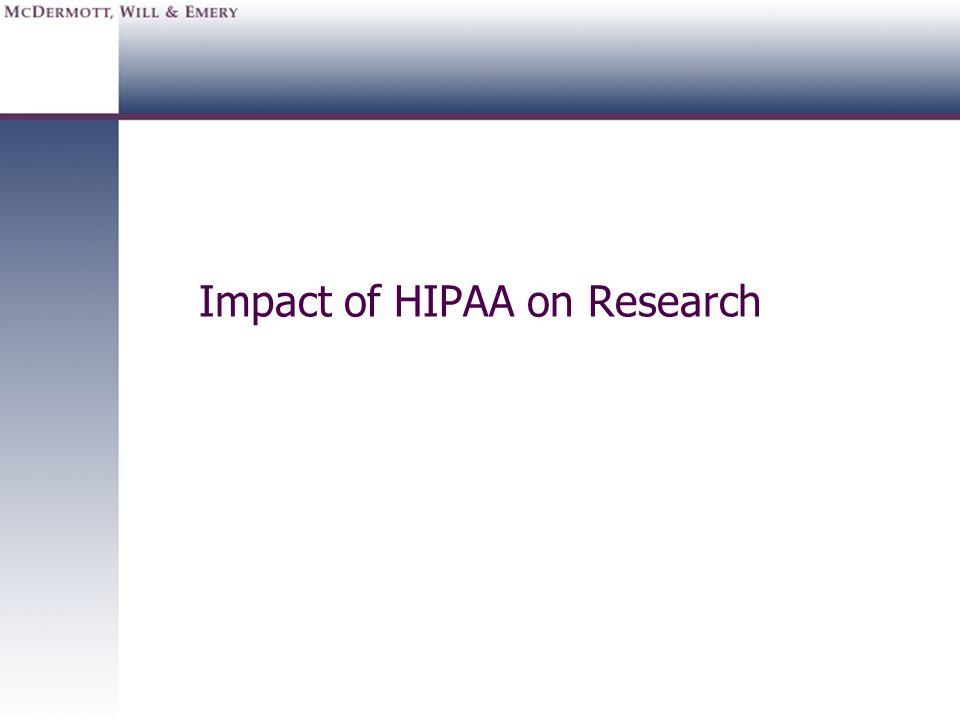 Impact of HIPAA on Research