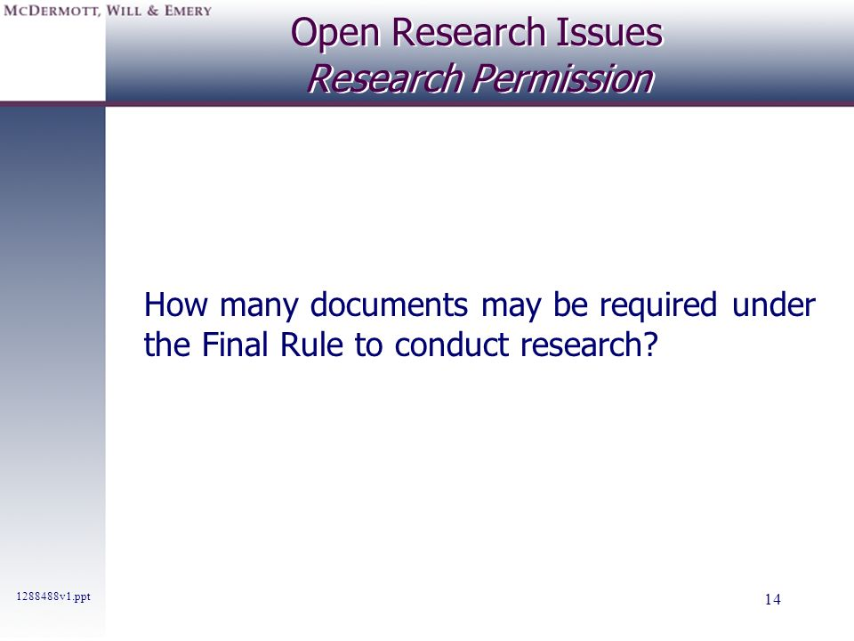 Open Research Issues Research Permission