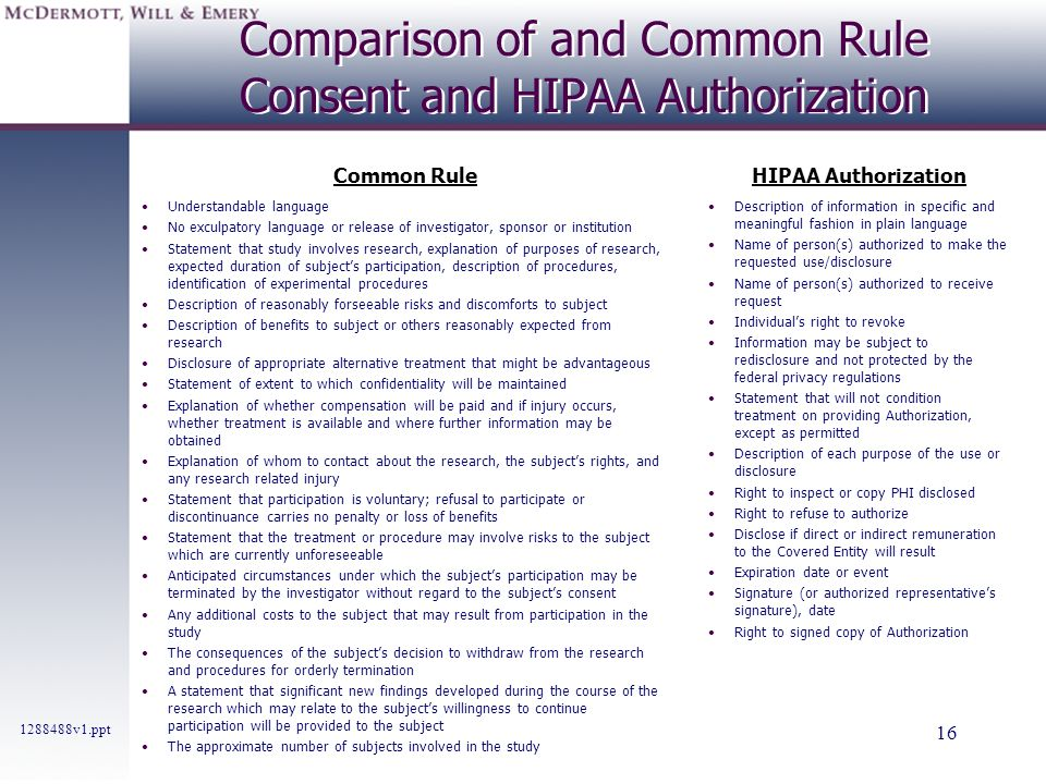 Comparison of and Common Rule Consent and HIPAA Authorization