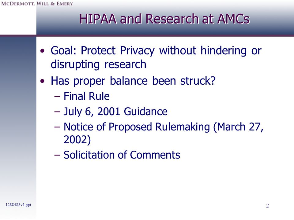 HIPAA and Research at AMCs