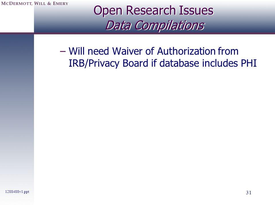 Open Research Issues Data Compilations