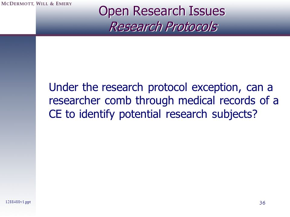 Open Research Issues Research Protocols