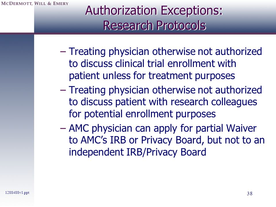 Authorization Exceptions: Research Protocols