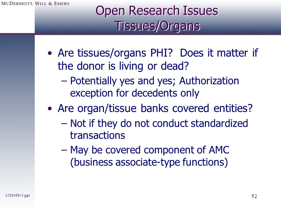 Open Research Issues Tissues/Organs