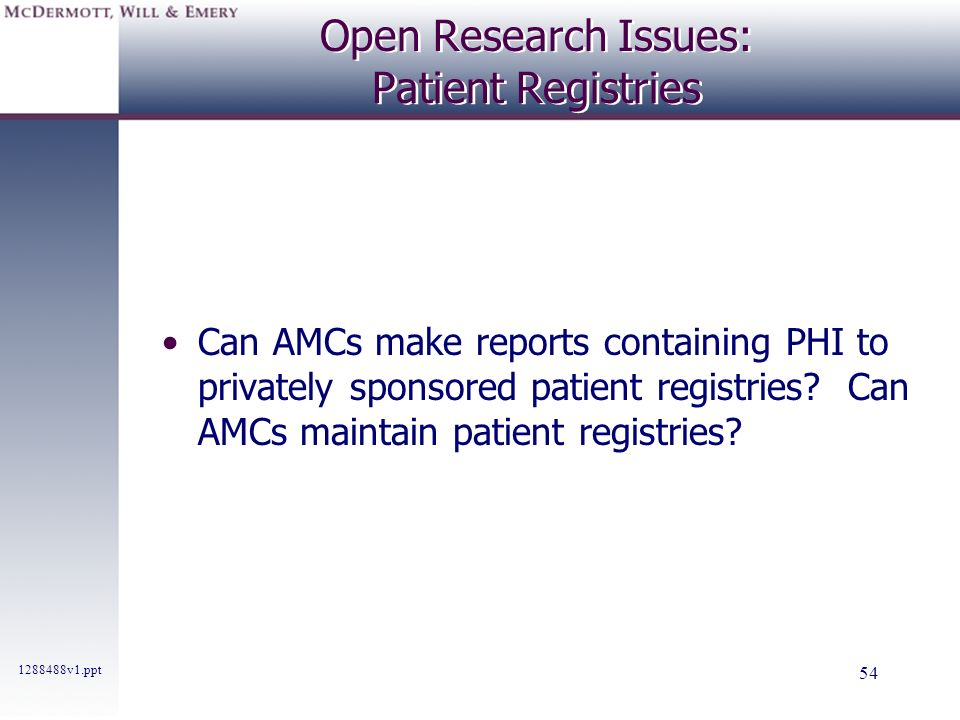 Open Research Issues: Patient Registries