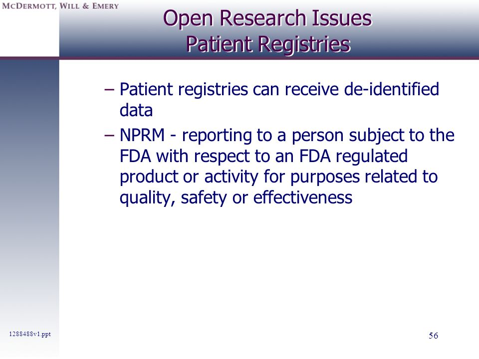 Open Research Issues Patient Registries