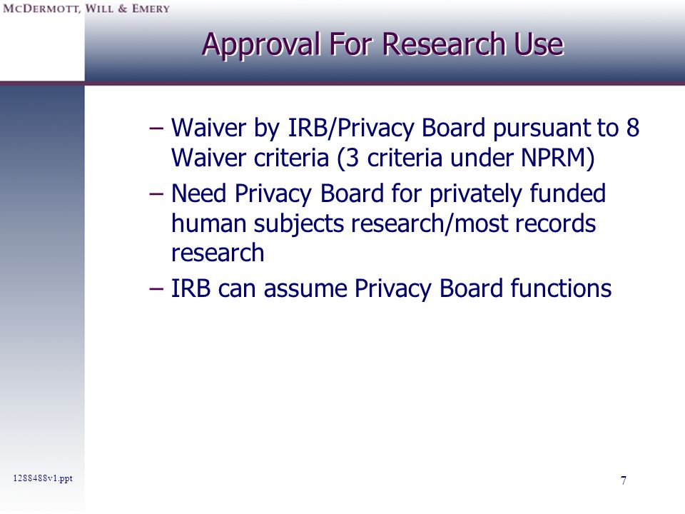 Approval For Research Use