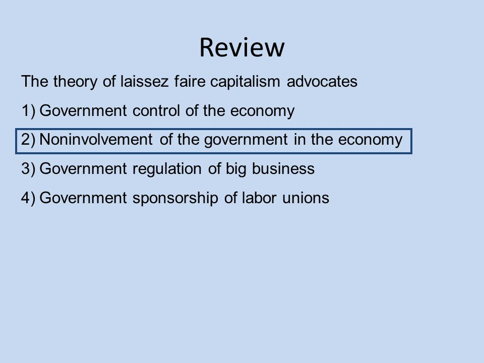 The federal government and laissez faire essay