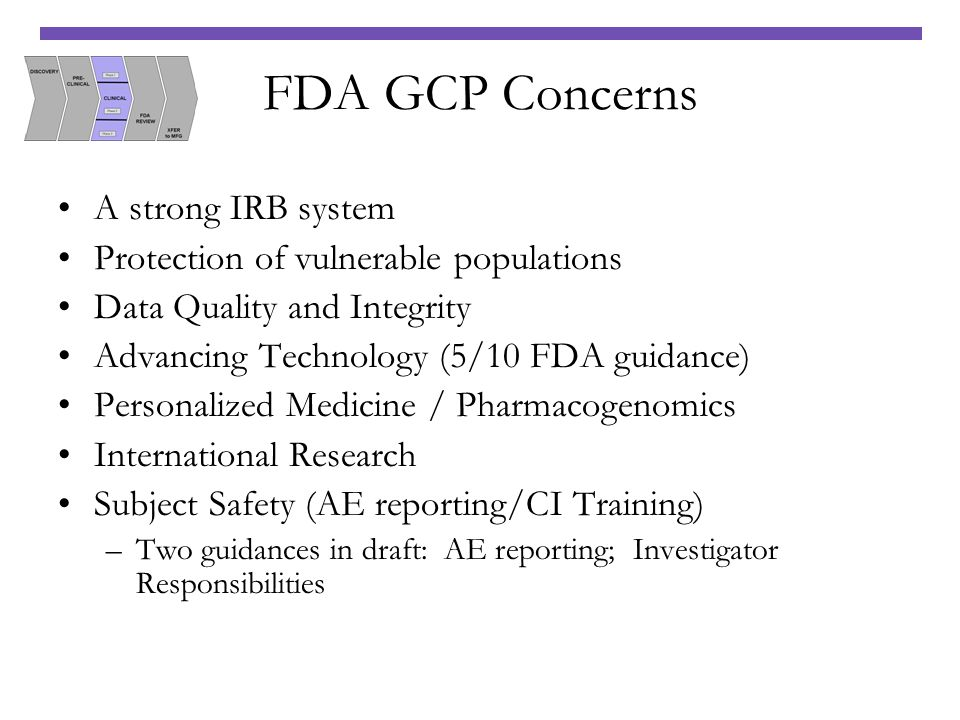 FDA GCP Concerns A strong IRB system