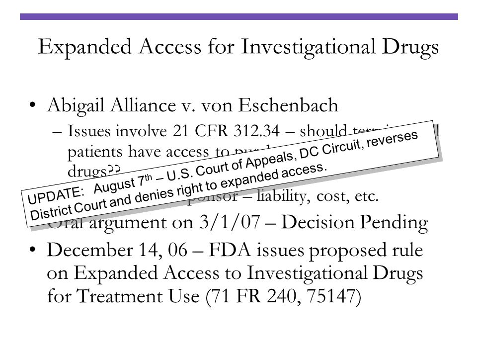 Expanded Access for Investigational Drugs
