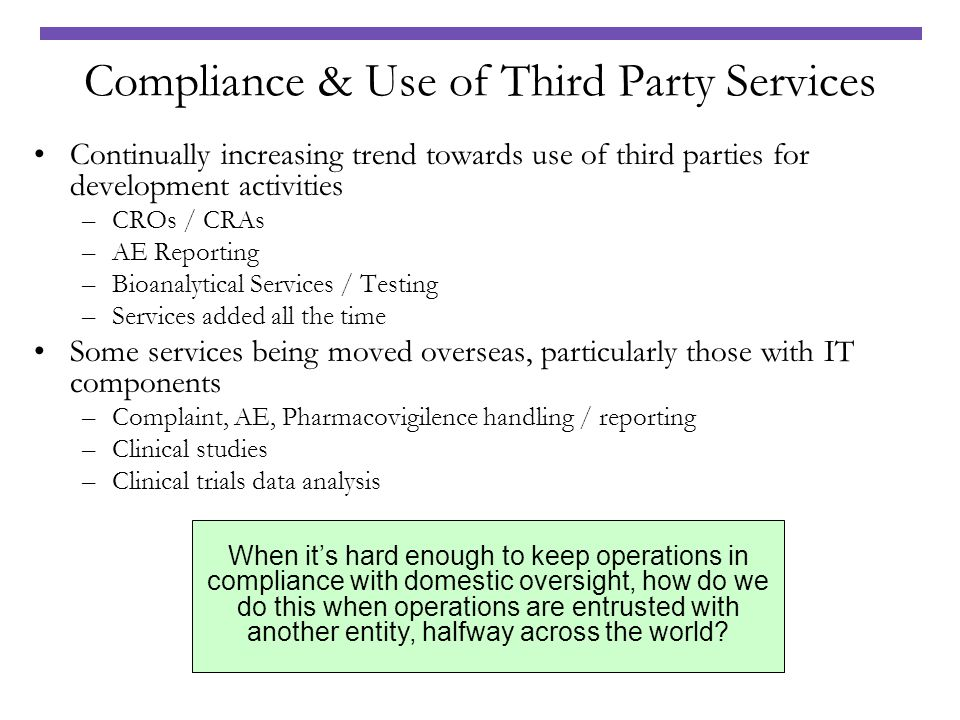 Compliance & Use of Third Party Services