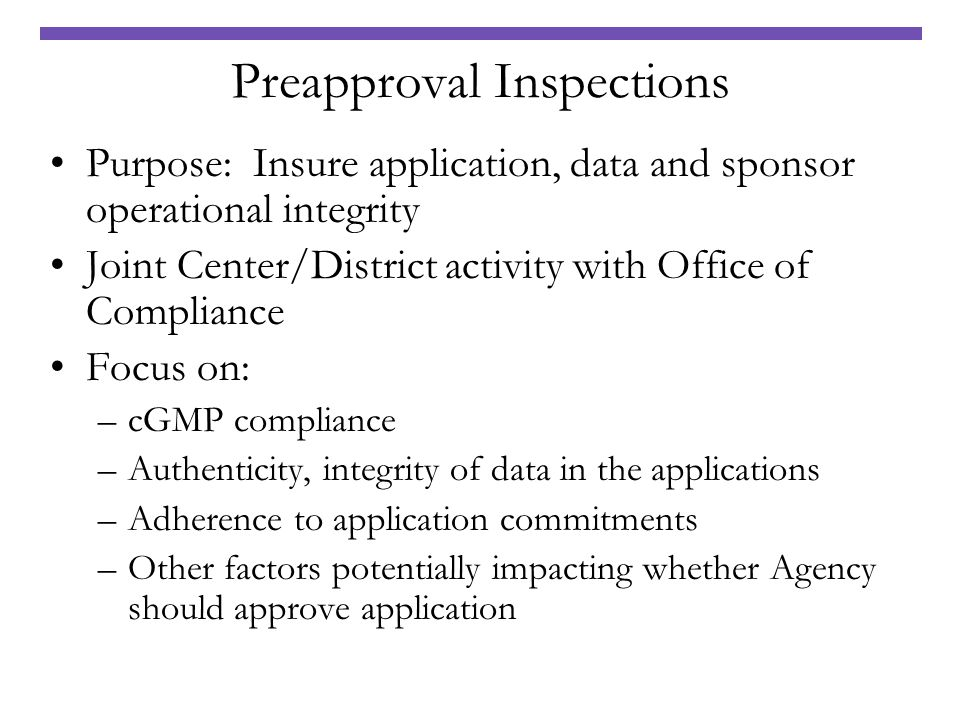 Preapproval Inspections