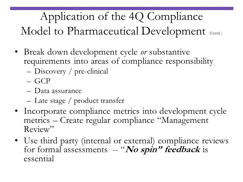 Application of the 4Q Compliance Model to Pharmaceutical Development (Contd.)