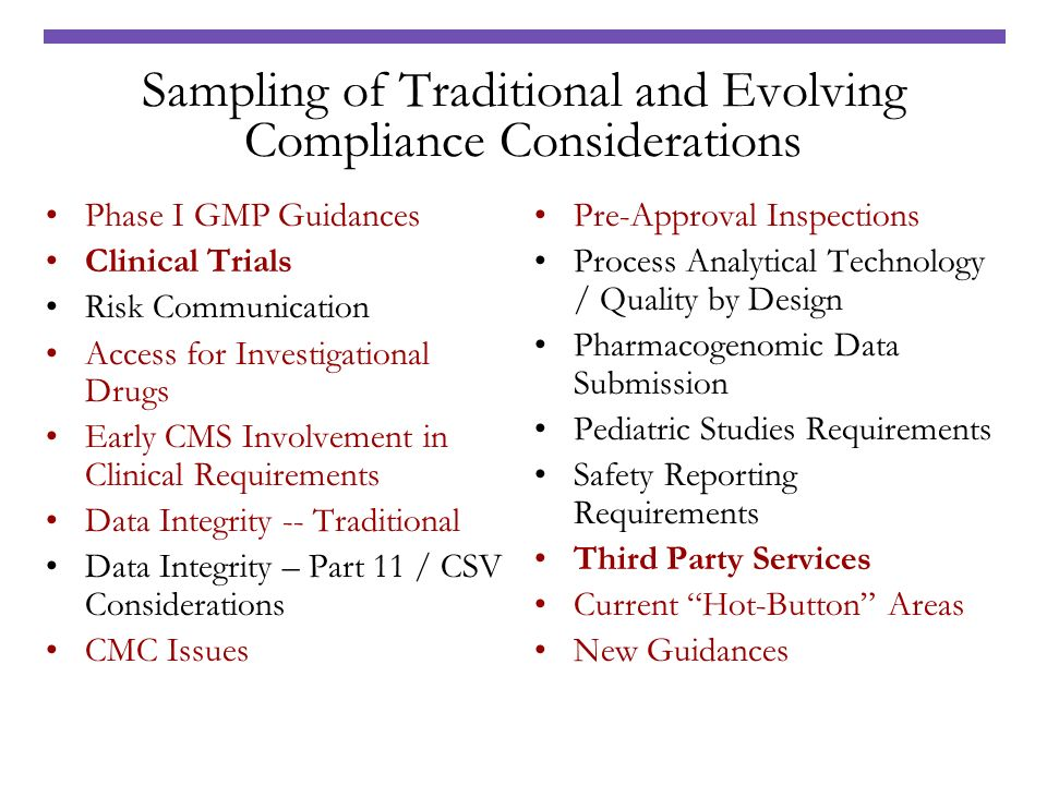 Sampling of Traditional and Evolving Compliance Considerations
