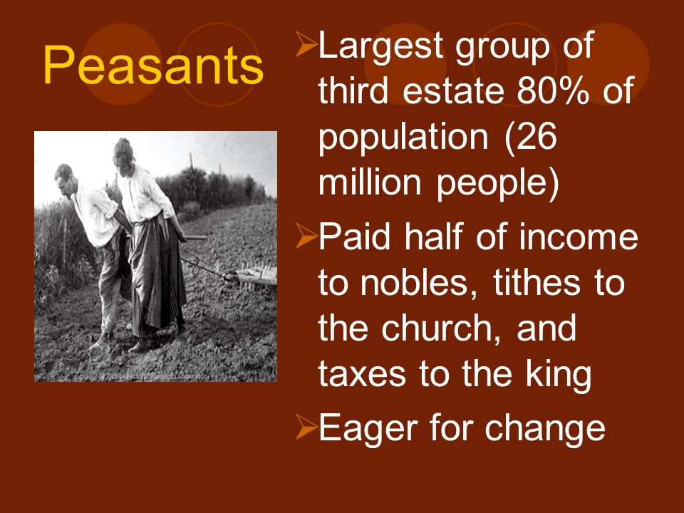 Peasants Largest group of third estate 80% of population (26 million people)