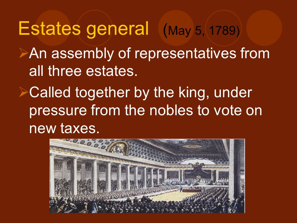 Estates general (May 5, 1789) An assembly of representatives from all three estates.