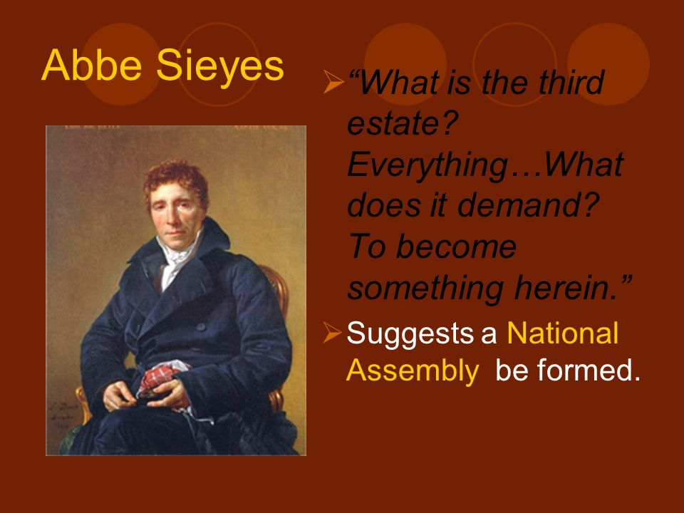 Abbe Sieyes What is the third estate Everything…What does it demand To become something herein.