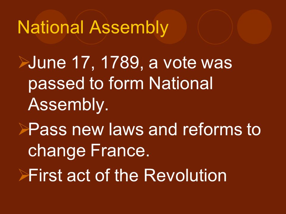 National Assembly June 17, 1789, a vote was passed to form National Assembly. Pass new laws and reforms to change France.