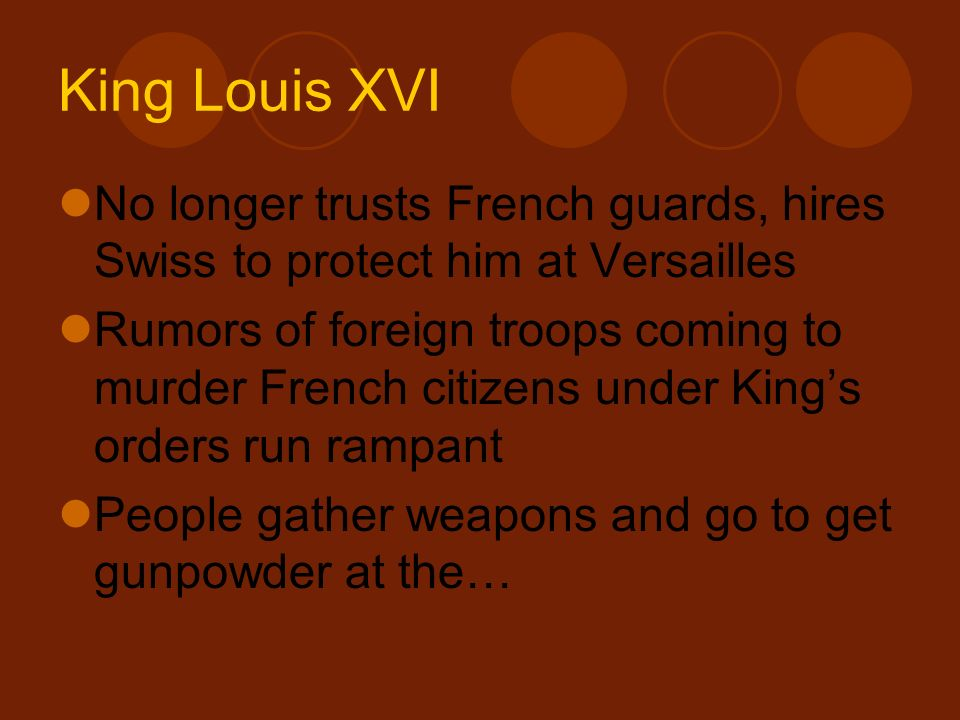 King Louis XVI No longer trusts French guards, hires Swiss to protect him at Versailles.