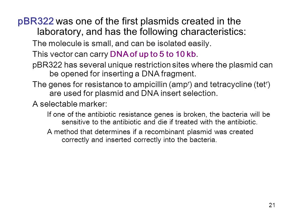 pBR322 was one of the first plasmids created in the laboratory, and has the following characteristics: