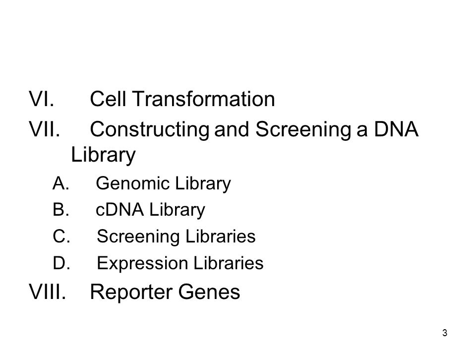 VI. Cell Transformation VII. Constructing and Screening a DNA Library