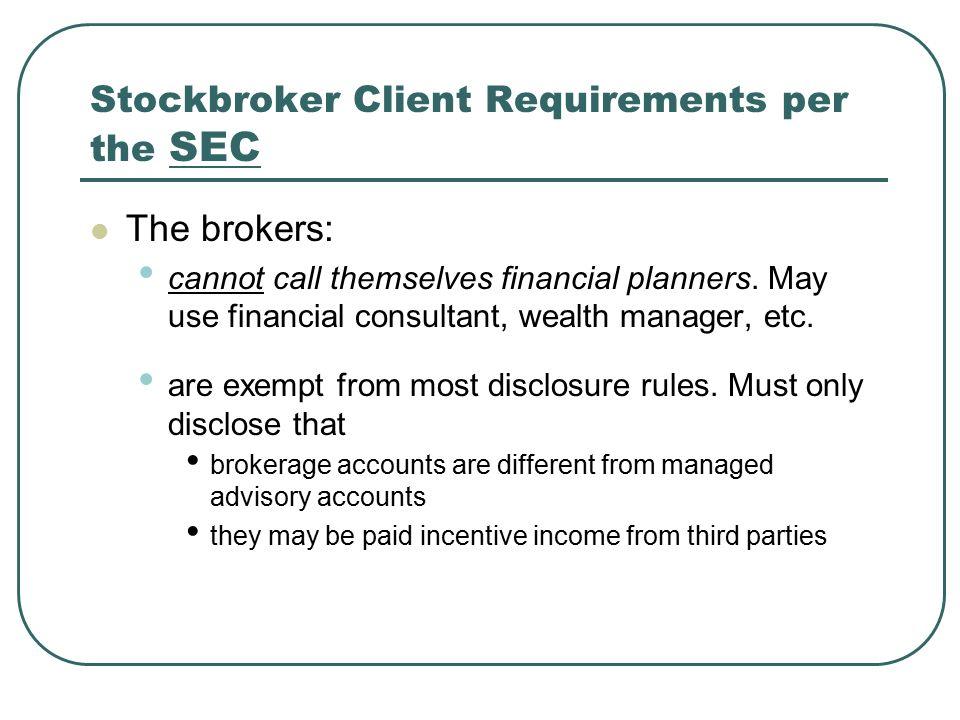 stockbroker client requirements per the sec stock broker ...