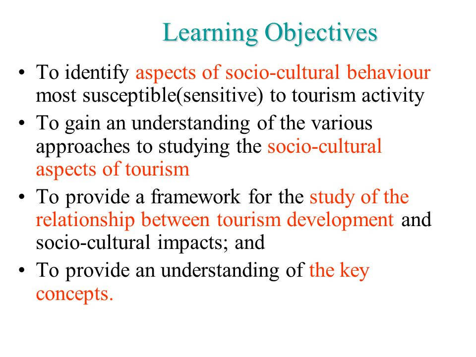 aspects of tourism Sociocultural impacts of tourism an inherent aspect of tourism is the seeking of authenticity , the desire to experience a different cultural setting in its natural environment [24] [25] although cultural tourism provides opportunities for understanding and education, there are serious impacts that arise as a result.