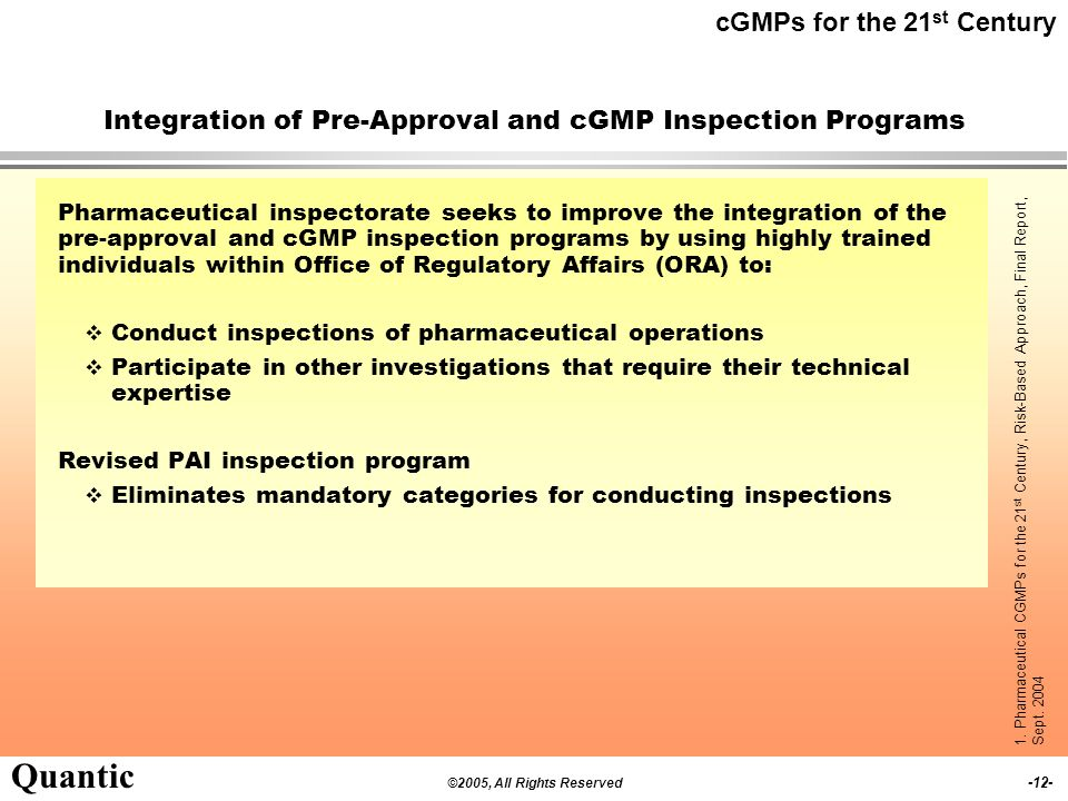 Integration of Pre-Approval and cGMP Inspection Programs