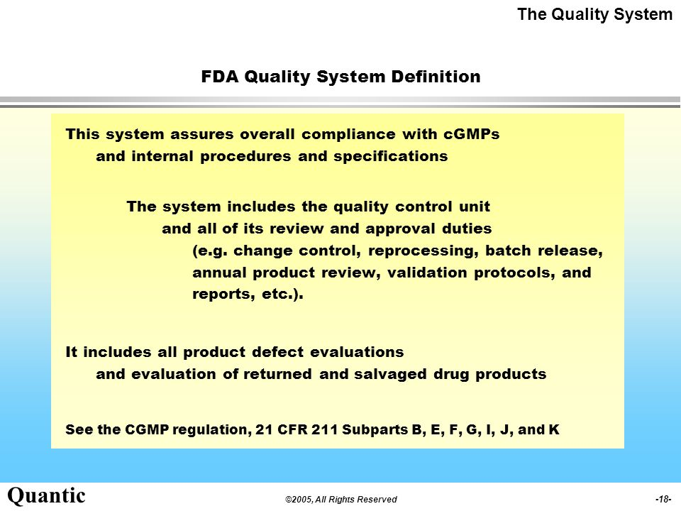 FDA Quality System Definition