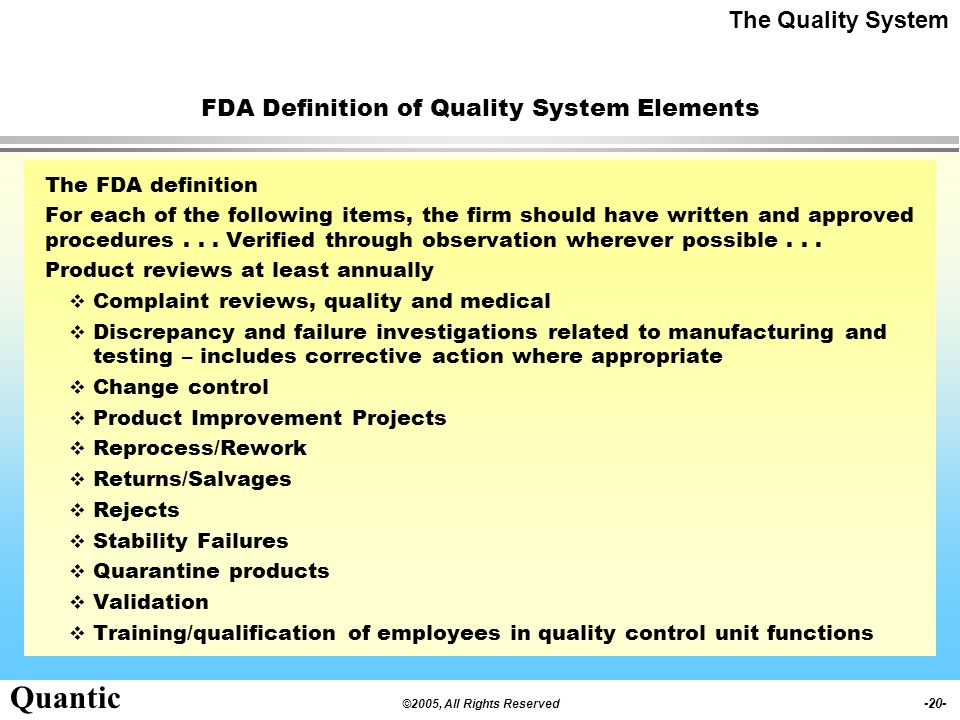 FDA Definition of Quality System Elements