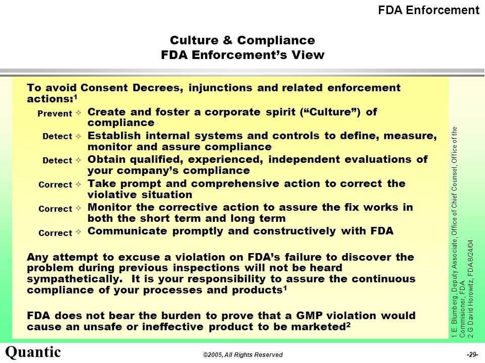 Culture & Compliance FDA Enforcement's View