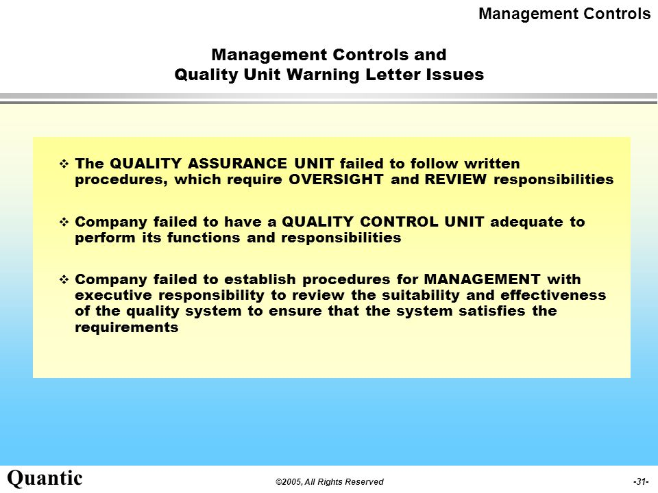Management Controls and Quality Unit Warning Letter Issues