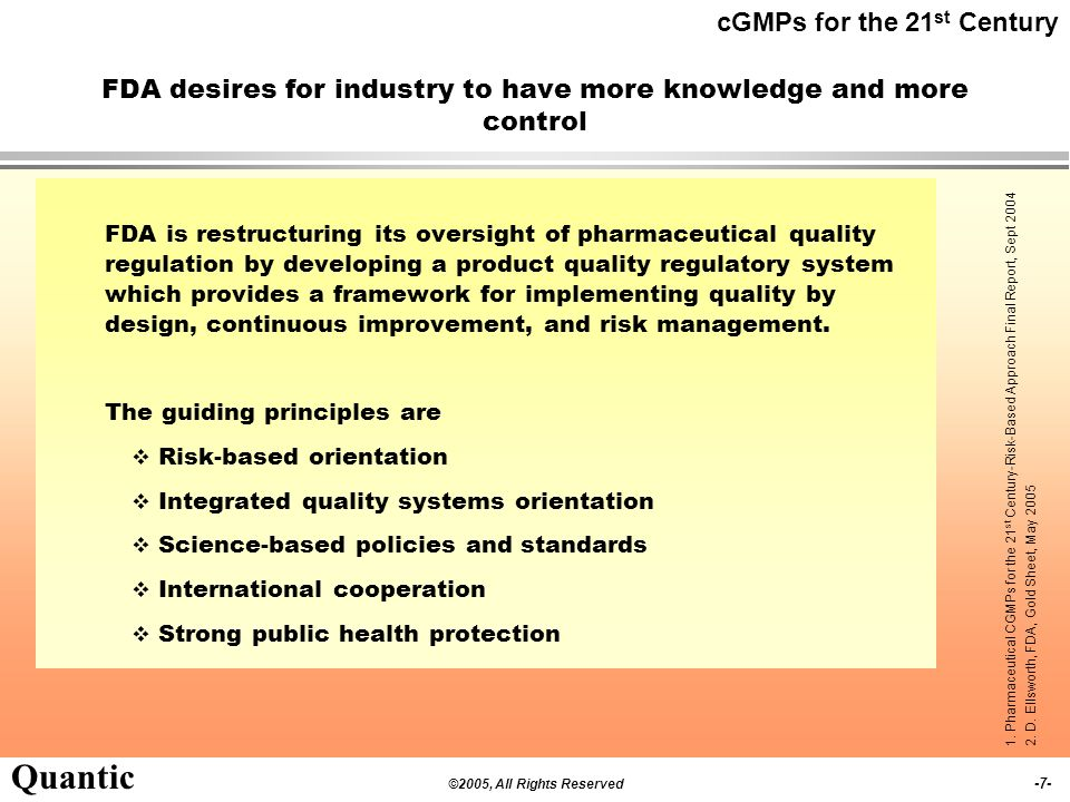 FDA desires for industry to have more knowledge and more control