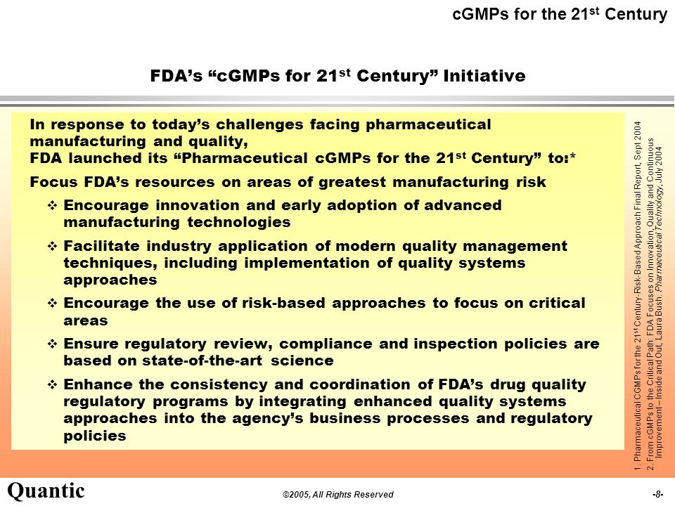 FDA's cGMPs for 21st Century Initiative