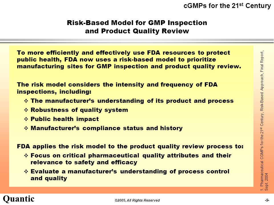 Risk-Based Model for GMP Inspection and Product Quality Review