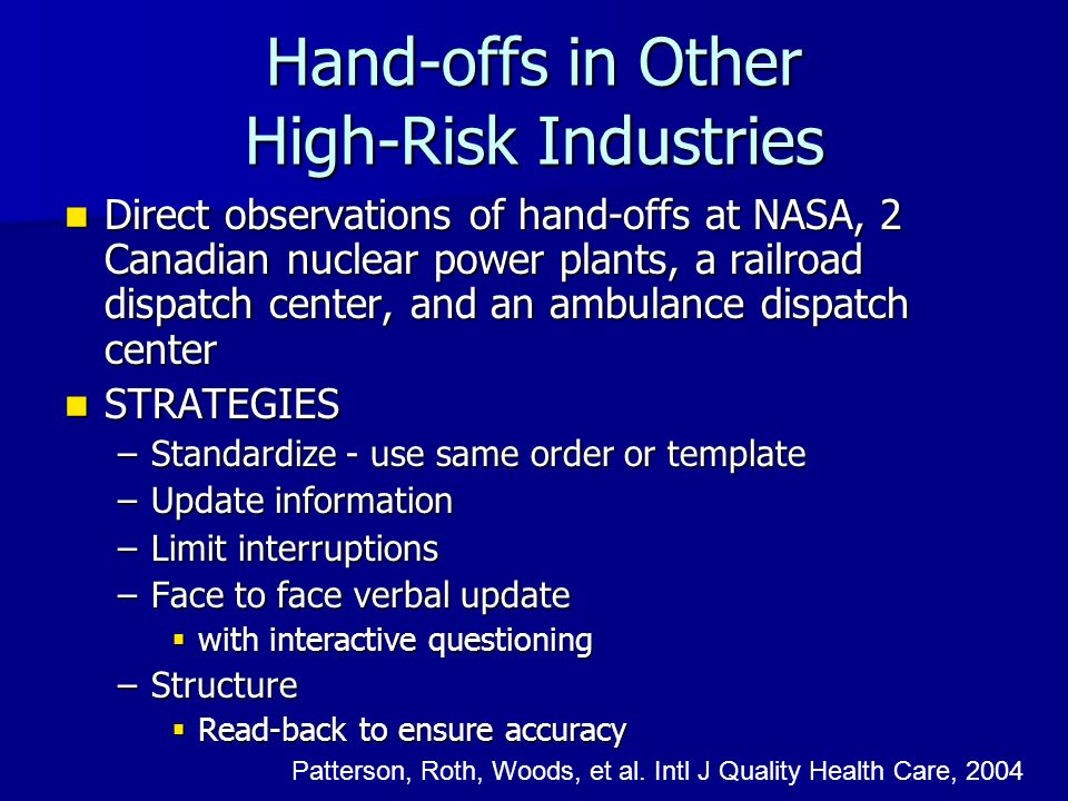 Hand-offs in Other High-Risk Industries