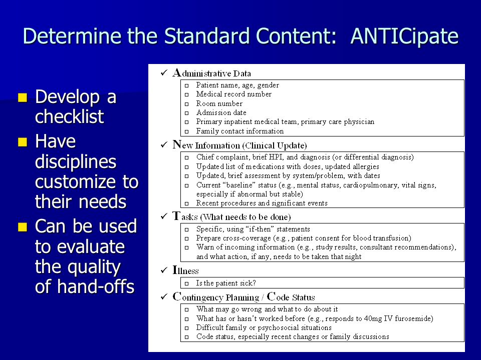 Determine the Standard Content: ANTICipate